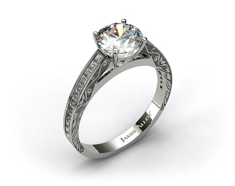 18k White Gold Engraved Channel Set Carre Shaped Diamond Engagement Ring